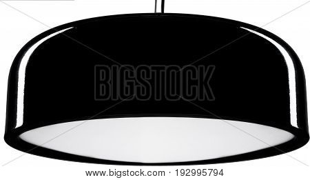 Black glossy hanging Lamp. lamp isolated on white