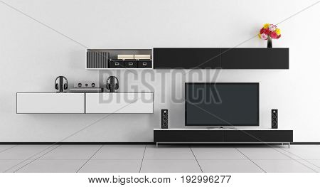 Black And White Room With Tv Unit