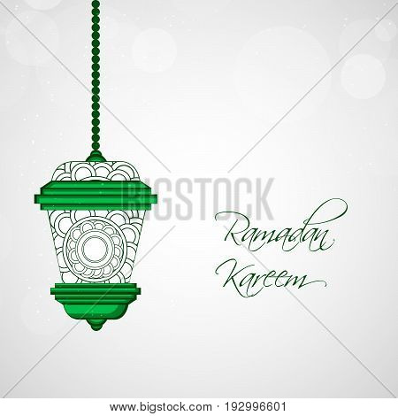 illustration of lamp with Ramadan Kareem text on the occasion of Muslim Festival Ramadan Kareem