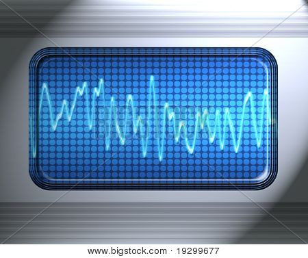 sound or audio wave in metal panel