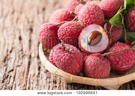 Fresh Organic Lychee Fruit On Basket