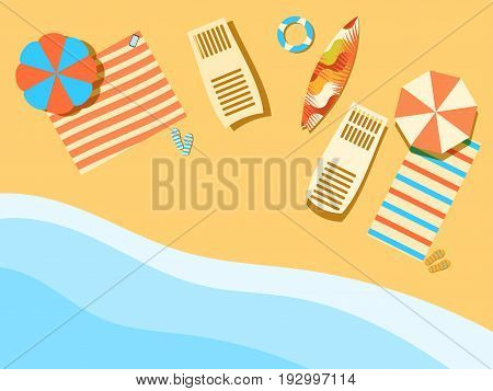 Beach, Seashore With Waves. Chaise Lounge With Umbrella, Surfboard. View From Above. Bedspread With