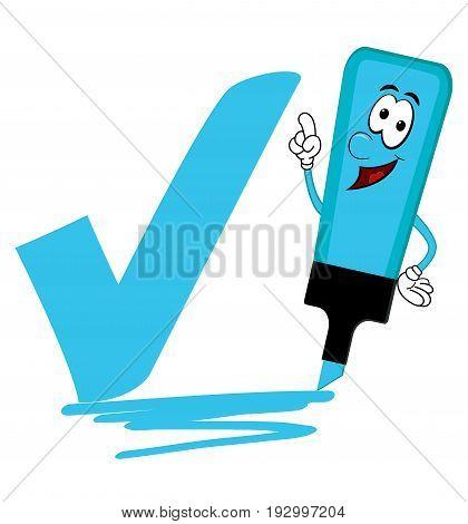 Single blue cartoon highlighter pen with bold tick or check mark
