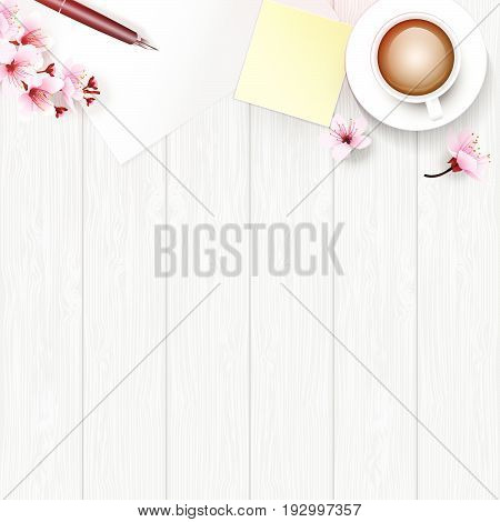 White wooden table from top view with copy space. White painted table top decorated with cherry blossoms branch flowers pen coffee cup paper and yellow paper note. Vector illustration for relax time.