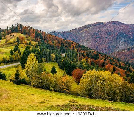Mountainious Rural Area In Late Autumn