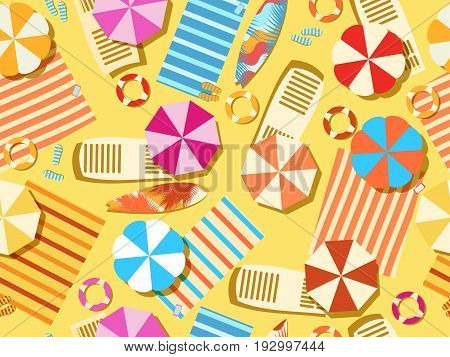 Seamless Beach, Top View. Chaise Lounge With Umbrella, Surfboard, Flip-flops And Bedspreads. Beach V