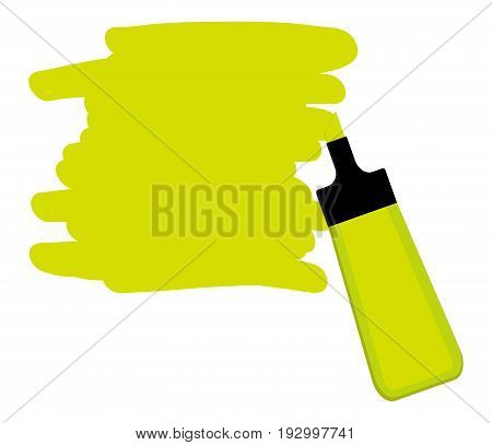 Single yellow highlighter pen with hand drawn area to highlight text.
