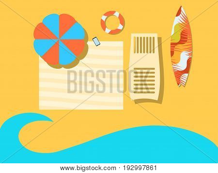 Beach view from above. The sea coast with an umbrella a coverlet a chaise longue and a surfboard. Flat style. Place for the text. Vector illustration