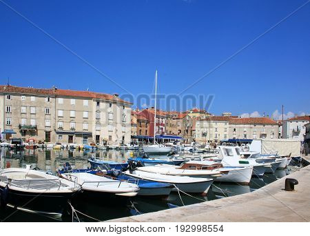 boats in the port of Cres, island Cres, Croatia