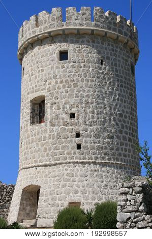 old Roman tower in Cres, island Cres, Croatia