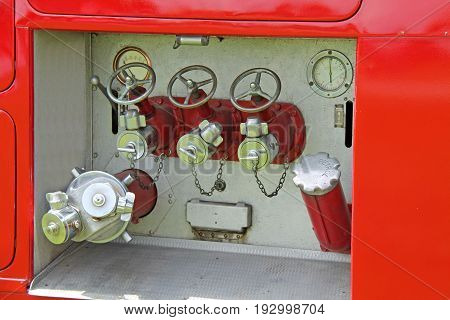 The Controls and Valves of a Fire Engine Tender.