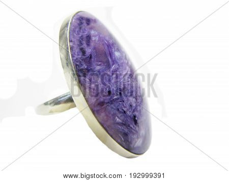bright ring with semiprecious crystal isolated on white backgroud