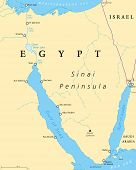 Egypt, Sinai Peninsula political map. Situated between Mediterranean Sea and Red Sea. Land bridge between Asia and Africa. Suez Canal, Gulf of Suez and Aqaba. Illustration. English labeling. Vector. poster