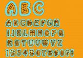 Nonconformist bizarre alphabet. Original font set with doodle elements uppercase characters and numbers question mark exclamation mark. Trendy combination of sky-blue and orange colors poster