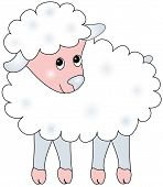 Fluffy baby sheep in pastel colors illustration. poster