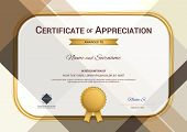 Modern certificate of appreciation template with modern colorful pattern in vector illustration poster