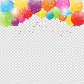 Group of Colour Glossy Helium Balloons Isolated on Transperent  Background. Set of  Balloons and Flags for Birthday, Anniversary, Celebration  Party Decorations. Vector Illustration EPS10 poster