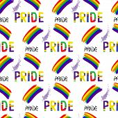 Colored rainbow letters of the handwritten text Pride. Seamless pattern on the theme of LGBT parade vector design poster
