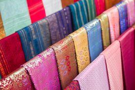 colorful traditional Lao silk textiles Luang Prabang Laos