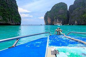speed boat and blue water at Maya bay in Phi Phi Island Krabi Thailand