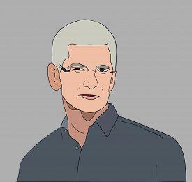 June, 2017: Apple Executive CEO Tim Cook vector portrait.