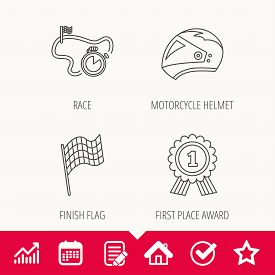 Race flag, motorcycle helmet and award medal icons. Start or finish flag linear sign. Edit document, Calendar and Graph chart signs. Star, Check and House web icons. Vector