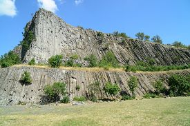 Hegyestu (in English: Sharp or Pointed Needle) 337m high can be found between Zanka and Monoszlo (Hungary). The lava cooled in the crater became vertical pillars. This stunning formation is a rarity in Europe.