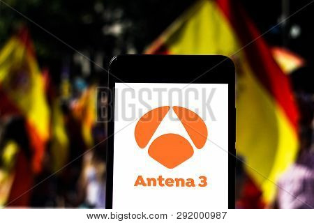 March 27, 2019, Brazil. Antena 3 Logo On The Mobile Device. Antena 3 Is An Open Television Channel F