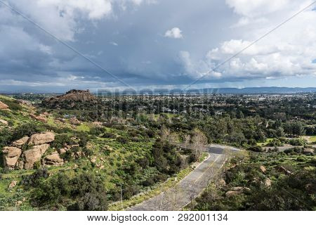 Scenic view of spring storm clouds, Stoney Point Park and the San Fernando Valley near Topanga Canyon Blvd and Santa Susana Pass Road in the City of Los Angeles, California.