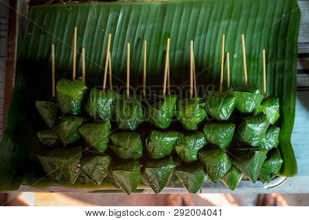 A Royal Leaf Wrap Appetizer (miang Kham) In The Stick, Tradition Food Of Thailand