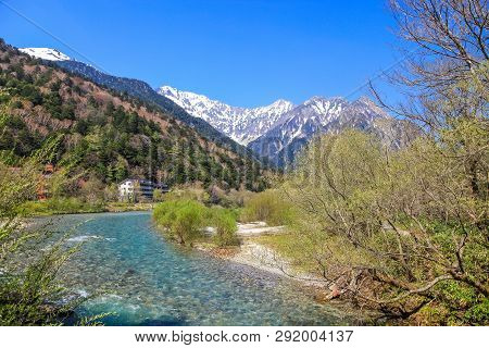 Kamikochi National Park In The Northern Japan Alps Of Nagano Prefecture, Japan. Beautiful Snow Mount