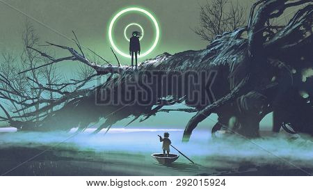 Dark-fantasy Scene Of The Boy On A Boat Looking At The Mysterious Man With One Eye On A Fallen Tree