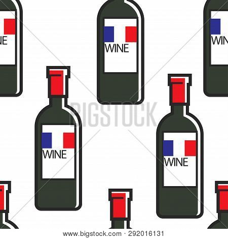 French Wine Bottles Bordeaux Or Cabernet Seamless Pattern Travel To France