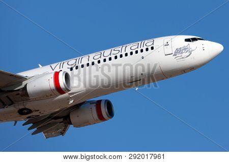 Adelaide, Australia - January 7, 2013: Virgin Australia Airlines Boeing 737 Vh-vuz Taking Off From A