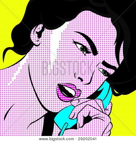 Girl With Phone Pop Art