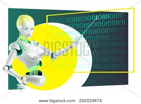 Illustration of a robot lecturer or cyborg teacher with a pointer. Humanoid female Android with artificial intelligence at the school Board. Robot teacher holding pointer in hand. Machine learning. Concept future. poster