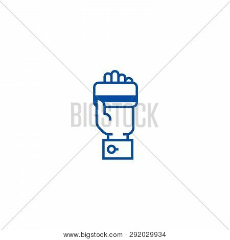 Credit Card In Hand, Pay By Card Line Icon Concept. Credit Card In Hand, Pay By Card Flat  Vector Sy