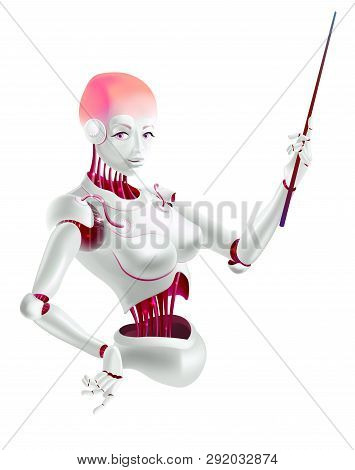 Illustration of a robot lecturer or cyborg teacher with a pointer. Humanoid female Android with artificial intelligence holding pointer in hand. Vector illustration in realistic 3D style. poster