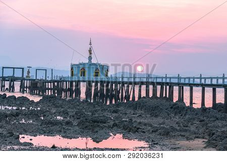 Aerial View Sunrise At Pier Of Phayam Temple One Landmark Of Phayam Island. Phayam Temple Is On Hin