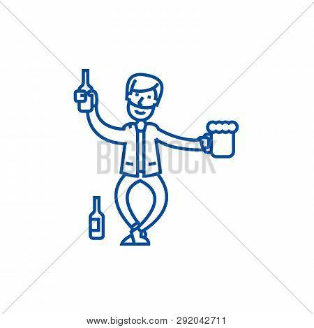 Drunk Man Line Icon Concept. Drunk Man Flat  Vector Symbol, Sign, Outline Illustration.