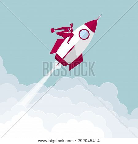 Aerospace Industry. The Rocket Was Launched In Midair.