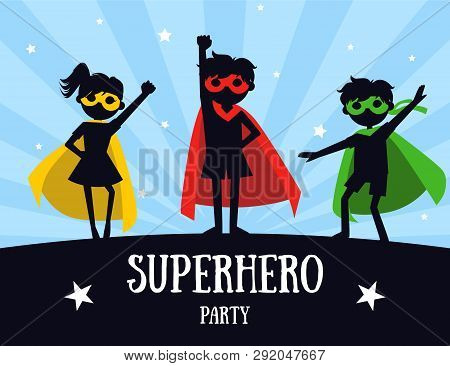 Superhero Party Banner, Cute Kids In Superhero Costumes And Masks, Birthday Invitation, Landing Page