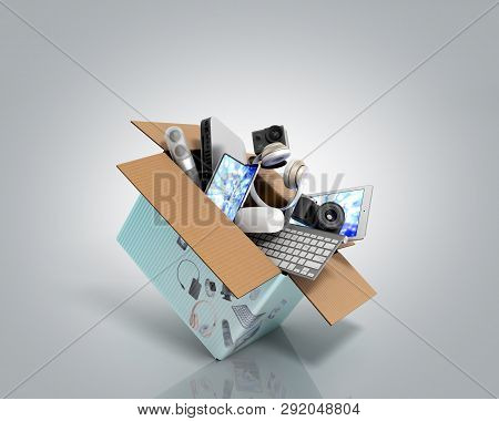 Concept Of Product Categories Small Consumer Electronics Fly Out Of The Box 3d Render On Grey Gradie