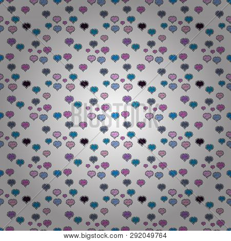 Seamless Love Pattern. Background Of Big And Small Hearts With Swirls In Blue, Black And White Color