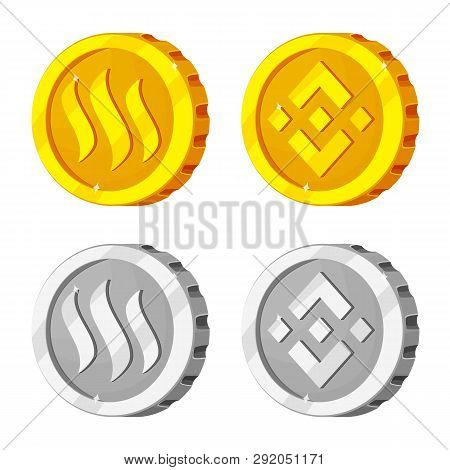 Vector Design Of Cryptocurrency And Coin Symbol. Collection Of Cryptocurrency And Crypto Vector Icon