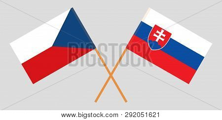Slovakia And Czech Republic. The Slovakian And Czech Flags. Official Colors. Correct Proportion. Vec