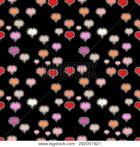 Vector Illustration. Seamless Background Of Big And Small Hearts With Swirls In Black, Neutral And P