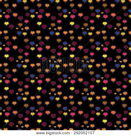 Cartoon Hearts Love On Purple, Yellow And Black Colors On Cute Background. Our Love Is Magic. Seamle