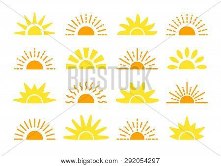 Sunrise & Sunset Symbol Collection. Horison Flat Vector Icons. Morning Sunlight Signs. Isolated Obje