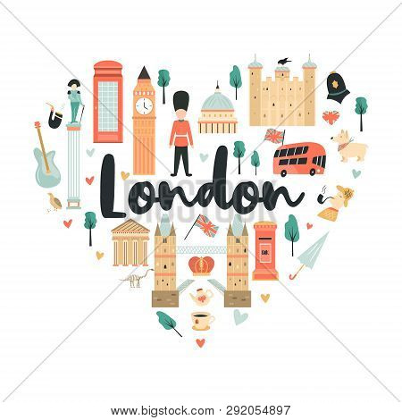 London Background, Design With Big Ben, Tower, Tower Bridge, Red Phone Box, Westminster Abbey. Abstr